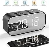 Salandens Reloj Despertador Digital, Bocina Bluetooth, Estéreo Altavoz Inalámbrico Bluetooth 5.0 Portátil Micrófono Incorporado Reloj de Alarma, Entrada 3.5mm AUX/Micro SD/TF/USB, Ideal Viaje, Pantalla de Espejo