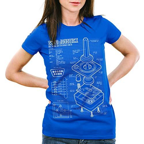 style3 2600 VCS Console Videogiochi Cianografica T-Shirt da Donna Joystick retrogaming, Colore:Blu, Dimensione:M