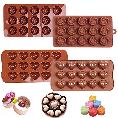 PJY 2PCS Silicone Chocolate Molds,Flower and Heart Chocolate Mold Cake Decorating Bar Ice Cube Candy Baking Tray Mold