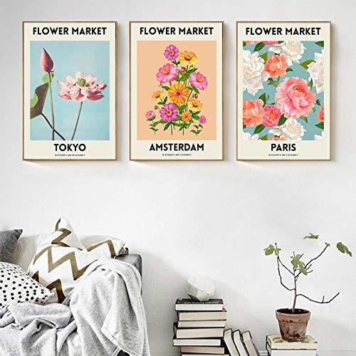 Affischer och tryck Nordic Fleur Plantor Konst Canvasmålning Paris Stockholm Tokyo Väggbilder Vardagsrum Dekor (50 x 70 cm/19,7 x 27,6 tum) X7 Ingen ram