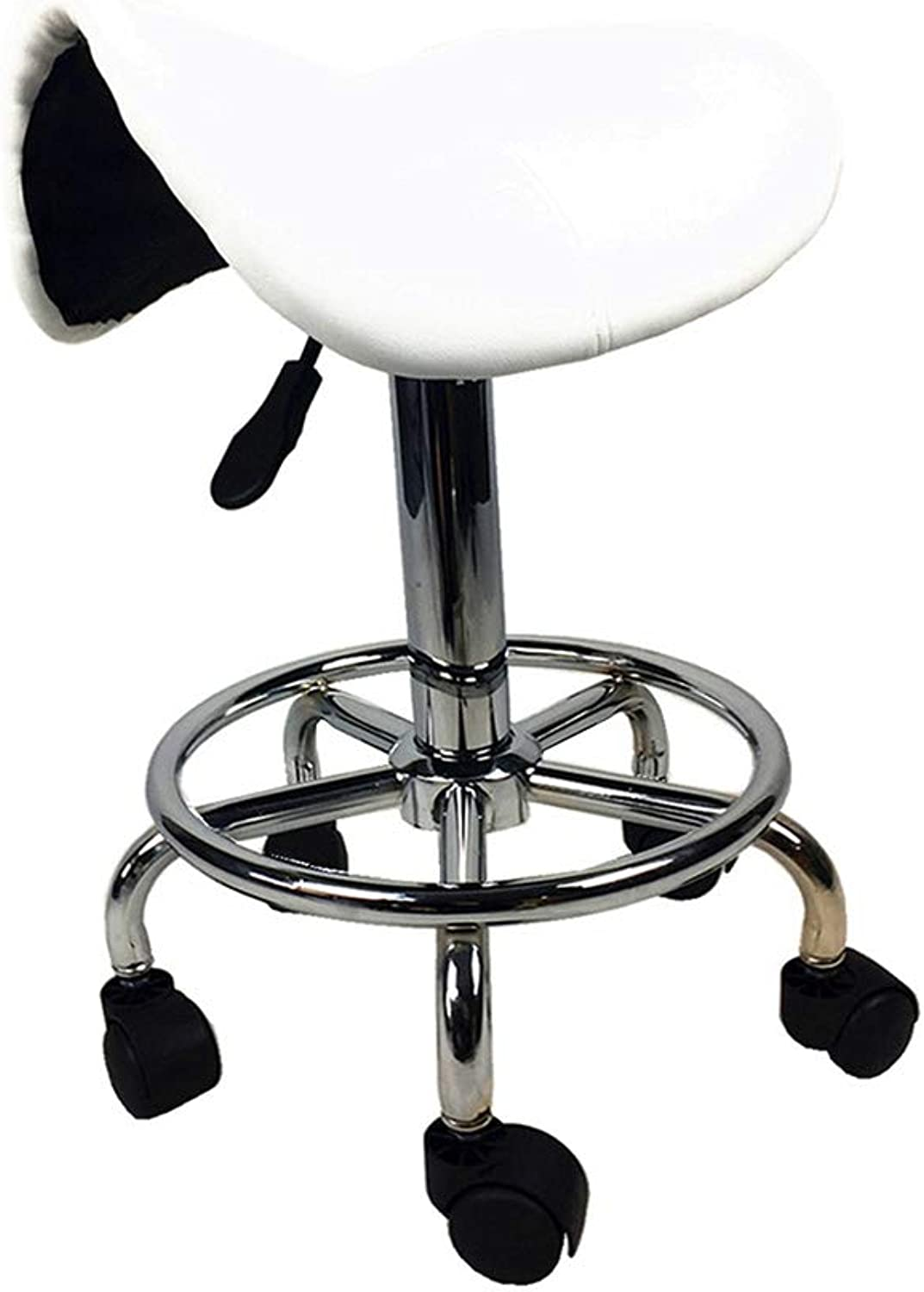 NYJS Bar Stool,Bar Chair Saddle Salon Massage Chair Adjustable Swivel Hydraulic Gas Lift Ergonomic Stool for Hairdressing Manicure Beauty Massage Spa Salon,Black,White (color   White)