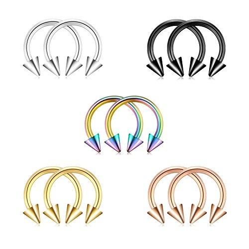 Briana Williams 10 Pezzi 1.2mm Acciaio Chirurgico Anello al Naso Septum Ferro di Cavallo Cerchio Orecchini Sopracciglia Trago Labbro Piercing