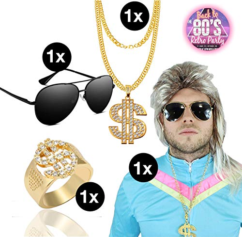 TK Gruppe Timo Klingler Fasching Karneval Kostüm Set Erwachsene Vokuhila Assi Perücke 80er 90er Jahre Kleidung Kostüm mit Brille Pilotenbrille Goldkette Ring Gold Dollar