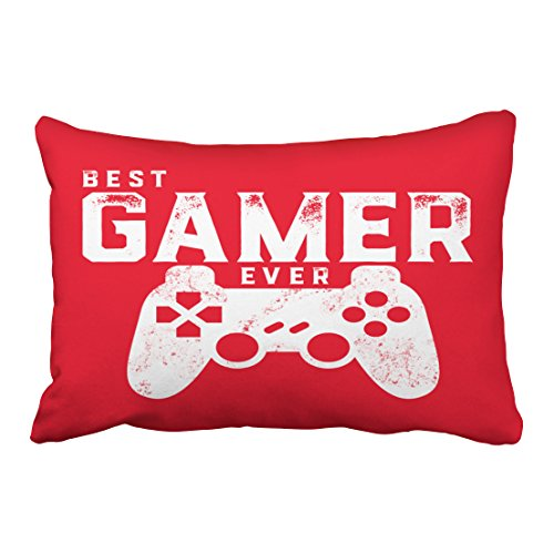 Emvency Decorative Throw Pillow Cover Queen Size 20x30 Inches Best Gamer Ever for Video Games Geek Pillowcase with Hidden Zipper Decor Fashion Cushion Gift for Home Sofa Bedroom Couch Car