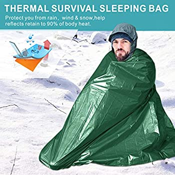 Idefair Sac de Couchage d'urgence avec sifflet de Survie Étanche Sac de Couverture léger pour équipement de Survie pour la randonnée Chasse Camping Activités de Plein air Gardez au Chaud
