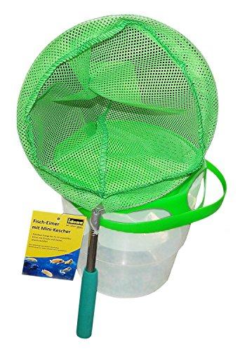 Idena 40083 Fisch Eimer mit Mini Kescher aus Metall mit ausziehbarer Teleskopstange, von ca. 37 cm bis ca. 72 cm, für Kinder oder zum Angeln, grün