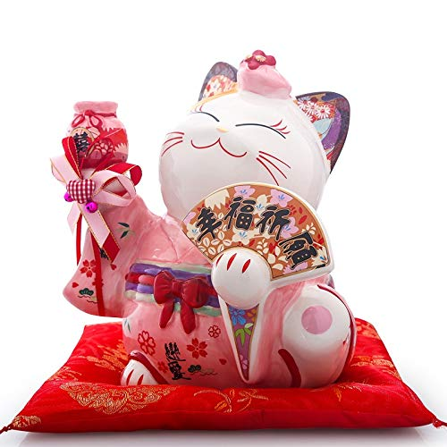 Hucha Cerámica japonesa Maneki Neko Lucky Cat Money Box Fortune Cat Feng Shui Crafts Center Pieza de centro Decoración del hogar Boda Recién casados ​​Regalo Caja de Efectivo ( Color : Pink 8 inch )