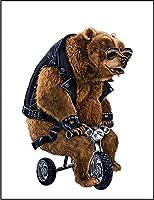 【バイク パンク 熊 クマ】 余白部分にオリジナルメッセージお入れします!ポストカード・はがき(白背景)