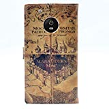 YHB Case for Moto G5 Plus, Marauder's Map Vintage Pattern Leather Wallet Credit Card Holder Pouch Flip Stand Case Cover for Motorola Moto G5 Plus (2017)