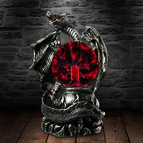 QIANMEI Luz de la Bola de Plasma Gótico Medieval Dragon Guardian Bola de Plasma Lámpara de Mesa Halloween Iluminación de Terror Estatua mágica Decoracion Regalo