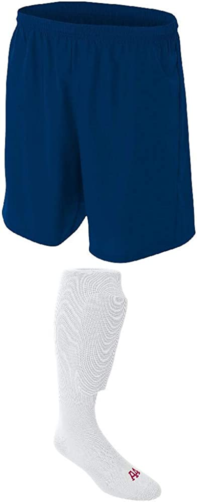 A4 Sportswear Navy Adult Medium Seattle Mall Soccer Socks Special price for a limited time Shorts White