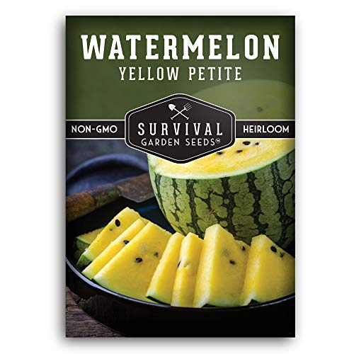 Survival Garden Seeds - Yellow Petite Watermelon Seed for Planting - Packet with Instructions to Plant and Grow in Your Home Vegetable Garden - Non-GMO Heirloom Variety