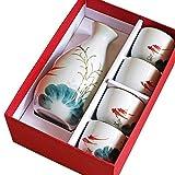L.BAN 5 Juegos de Sake, Sake con empaque - diseño Pintado a Mano de Porcelana/artesanía Copa de Vino