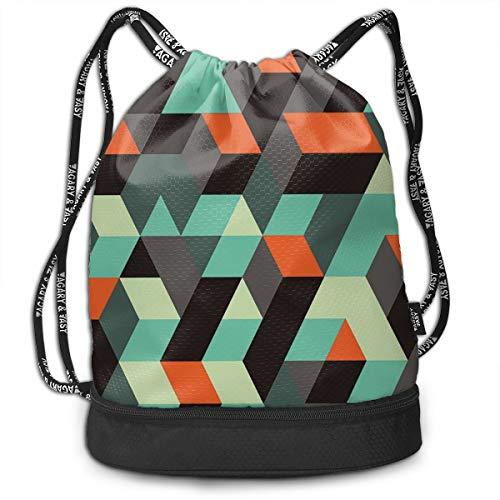 DPASIi Mochilas con cordón, estampado geométrico con cuadrados triángulos y sombras, imagen decorativa, cierre de cuerda ajustable.