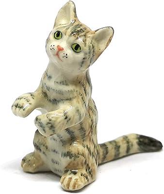ZOOCRAFT Ceramic Tabby Rex Cat Figurine Doll Decor Handmade Miniatures Collectible