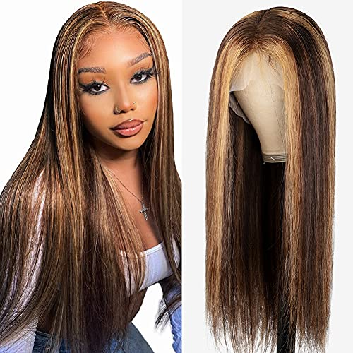 Straight Highlight Lace Front Wigs Human Hair Wigs for Black Women 22 Inch Ombre Blonde 4×4 Lace Closure Wigs HD Transparent Lace Front Wig Brazilian Human Hair Pre Plucked with Baby Hair