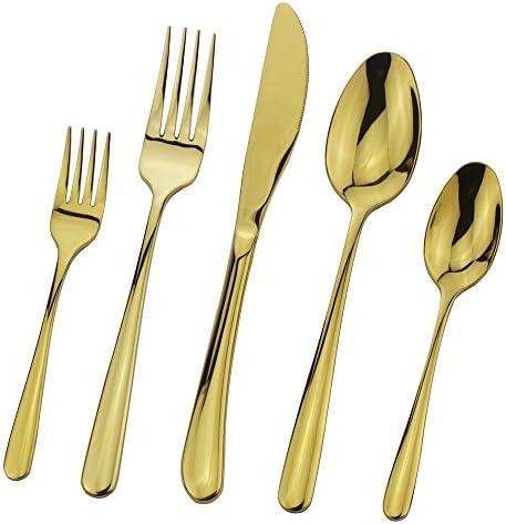 Flatware Silverware Set Gold 20 Pieces Stainless Steel Cutlery Tableware Eating Utensil Set product image