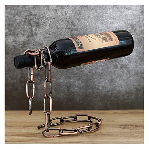 Estantes creativos para Vino de Mesa, Estante para Vino con Cadena de Hierro, portavasos con Soporte de Metal para 6 Botellas, Bronce
