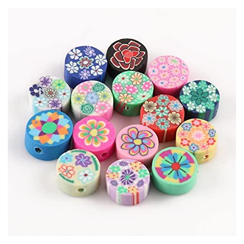 WEIMEIDA JQBB506 50 unids 10 mm de Color Perlas de Frutas polímero Arcilla Perlas polímero Arcilla Espaciador Suelta Perlas para Collar Bricolaje Accesorios Snttz (Color : Round)