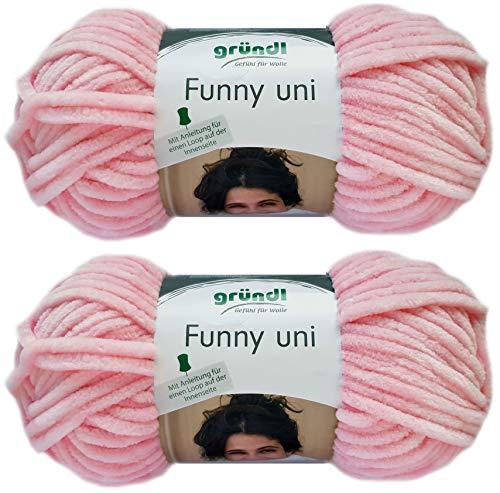 2x100 Gramm Gründl Funny Uni Softgarn SB Pack Babygarn inkl. Anleitung für EIN Funny Bunny (06 Rosa)