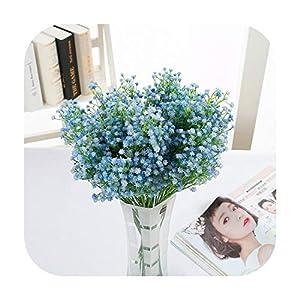 Silk Flower Arrangements F-pump 50Cm Babies Breath Plastic Artificial Flowers Pu Latex Gypsophila Fake Flowers DIY Bouquets for Wedding Home Arrangement Decor-Blue-2Pcs