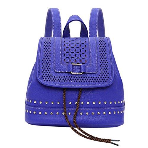 Coloré(TM) 3Pcs Sac à bandoulière en cuir gland sac à dos scolaire sacs à dos pour les femmes filles (Noir) (Bleu)