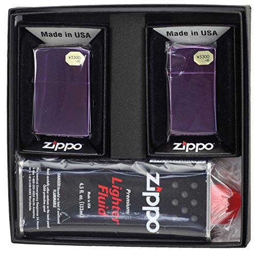 【ZIPPO】 ジッポーライター オイル ライター ペア 大人気 アビス(Abyss) ジッポー レギュラー&スリム 2個セット ペアセット専用パッケージ入り(オイル缶付き)