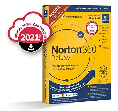 Scopri offerta per Norton 360 Deluxe 2020 | 5 Dispositivi | Licenza di 15 Mesi con Rinnovo Automatico| Secure VPN e Password Manager | PC, Mac, Tablet e Smartphone | Codice d'attivazione via Email
