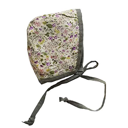 Baby Bonnet Country Hat Reversible Dual Side Linen, Cotton Floral Combinations Evy Collection Bonnets (Olive & Lavender, 12-18)