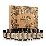 AKARZ Hots 10 Sets Essential Oils Tea Tree, Sandalwood, Peppermint, Frankincense, Musk, Lemongrass, Rosemary, Oregano, Bergamot, Vetiver Essential Oil for spa, Body face Care, Massage, Aromatherapy