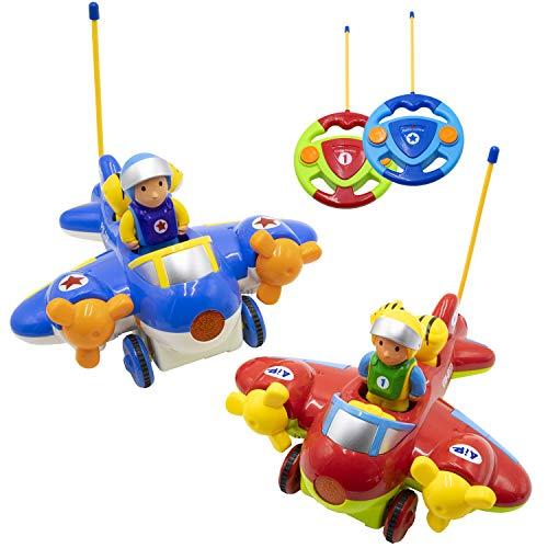 Hautton RC Juguete Avión Control Remoto para Niños, 2 uds. Aviones con Mando a Distancia para Adelante/Atrás con Piloto Extraíble, Música y Luces; Regalo Teledirigido para Niños 2 3 4 5 6 años