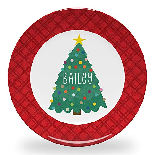 Tiny Expressions - Personalized Christmas Plate for Kids with Customized Name and Colorful Tree | BPA Free | Dishwasher Safe
