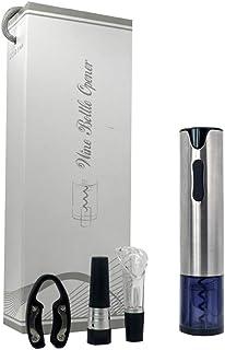 BENEVE 電動ワインオープナー ワインアクセサリーセット 女性でも簡単コルク抜き USB充電式 フォイルカッター付き 真空ボトルストッパー搭載 栓抜き コルク抜き (シルバー)