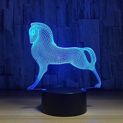 Fyyanm Mignon Coloré Poney Cheval Jouets Mon Petit Poney 3D Illusion Nuit Lumière Acrylique Nuit Lampe Bébé Enfants Dormir Lampe