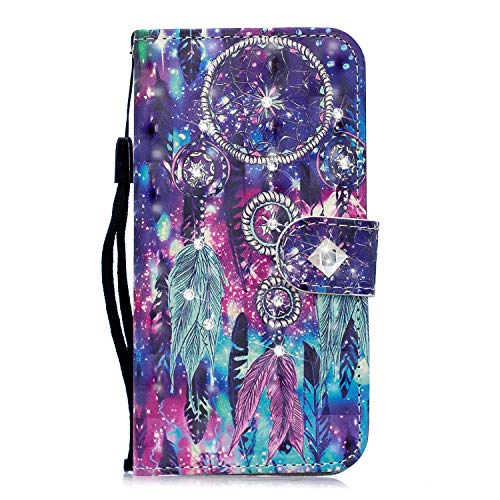 iPhone 12 Mini Case, 3D Handmade Glitter Diamonds Flip PU Leather Wallet Phone Cover Shockproof TPU Bumper Protective Case for iPhone 12 Mini with Card Holder Magnetic Clasp Stand, Dream Catcher