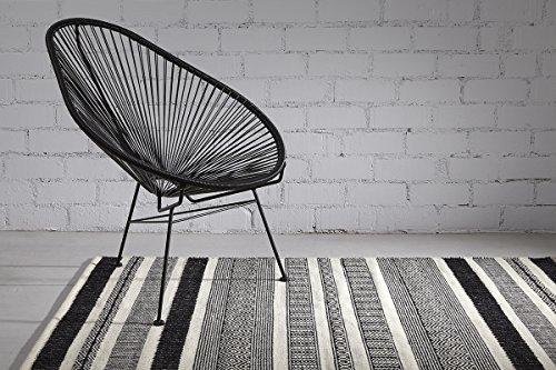 Creative Carpets Alfombra Kilim Étnico, Lana, Blanco y Negro, 160x230 cm
