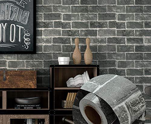 Selbstklebende Tapete,Tapete selbstklebende, wasserdichte und feuchtigkeitsbeständige Desktop-Aufkleber, Schlafzimmer-Dekorationsaufkleber-Graues Ziegelmuster_60 cm * 5 m