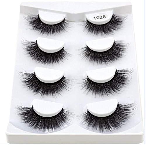 IYTE Faux cils4pairs 3d Mink Lashes Natural Long False Eyelashes Dramatic Volume Fake Lashes Makeup Eyelash Extension Silk Eyelashes 1026