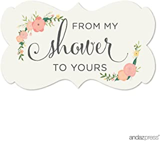 Andaz Press Baby and Bridal Wedding Shower Fancy Frame Label Stickers, from My Shower to Yours, Floral Roses, 36-Pack