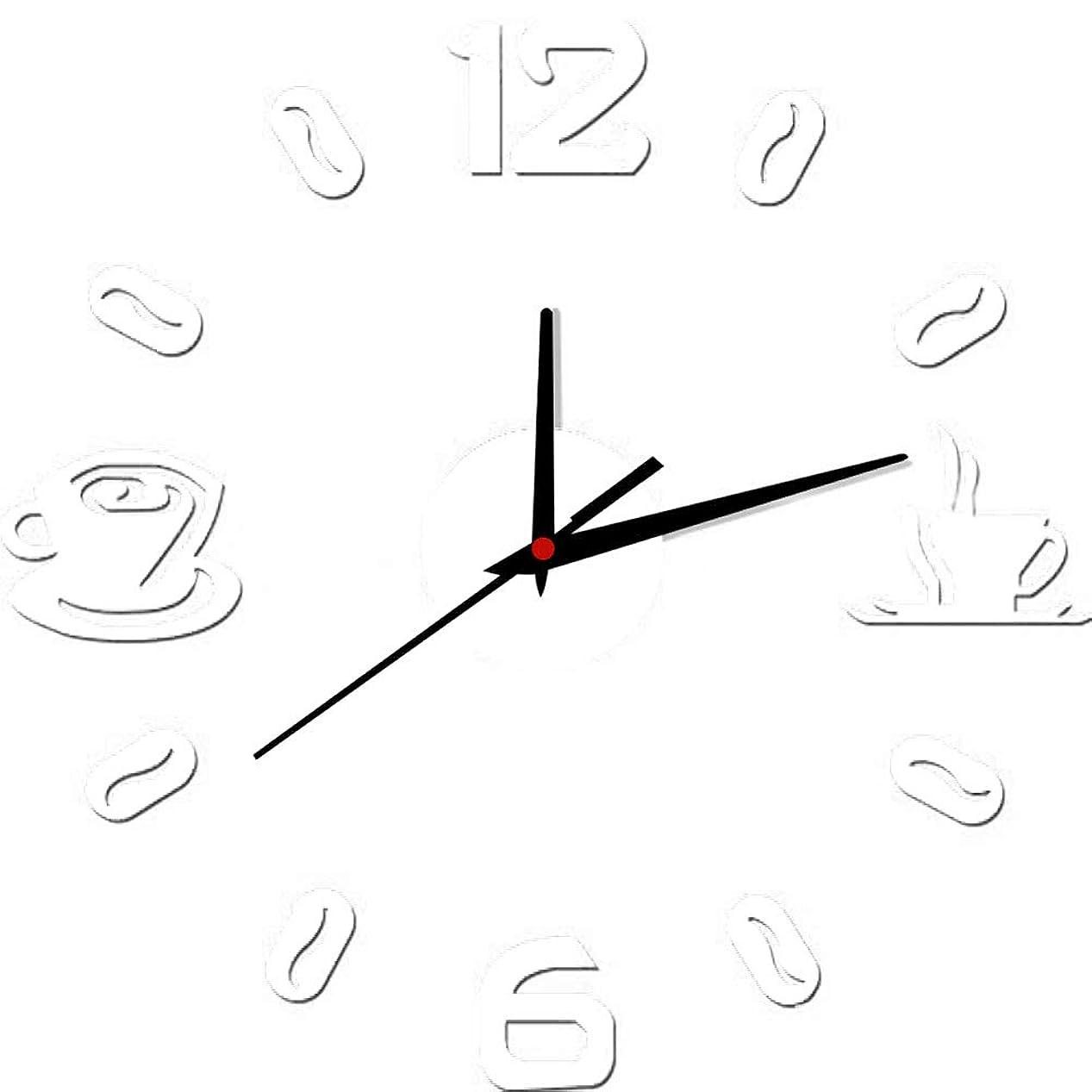 団結せせらぎ性能数値桁コーヒーカップクォーツミュート壁アート時計ステッカー家の装飾ギフト - シルバー