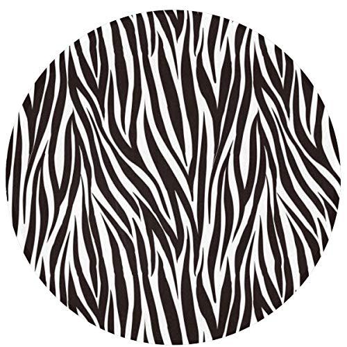 KiuLoam Stylish Animal Zebra Print Non-Slip Round Area Rugs Kitchen Floor Mat Soft Floor Carpet for Chair Living Room Bedroom, 2-Ft Diameter