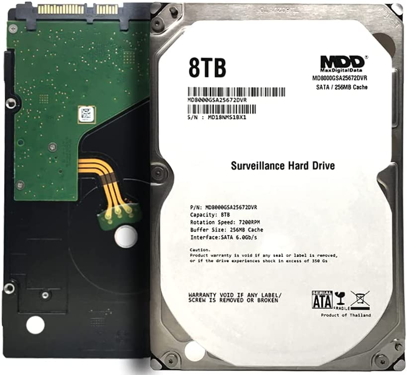 MaxDigitalData 8TB 7200 RPM 256MB Cache SATA 6.0Gb/s 3.5inch Internal Hard Drive for Surveillance (MD8000GSA25672DVR) - 3 Years Warranty