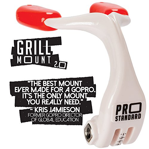 Pro Standard Grill Mount 2. 0 - The Best Mouth Mount Compatible with GoPro Cameras (White/red)