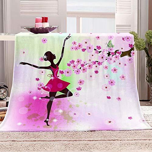tjxu 3D Printed Decke Tanz unter dem Kirschbaum 3D Gedruckte Decke Fleecedecke Weich Wohndecke Tagesdecke Sofadecke Decke Sofa & Bett 180 X 200 cm