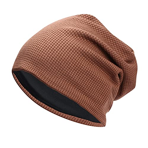 ManxiVoo Men's Slouchy Beanie for Men Winter Hats Cool Beanies Mens Lined Knit Warm Thick Skully Stocking Hat (Brown)