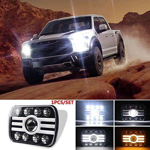 ETbotu voor Jeep Wrangler 500 W 30000LM 7 inch 5 x 7/7 x 6 LED-koplampen engelogen (8 kralen met lens) koplampen in H-vorm Eén maat C0021 1 PCS