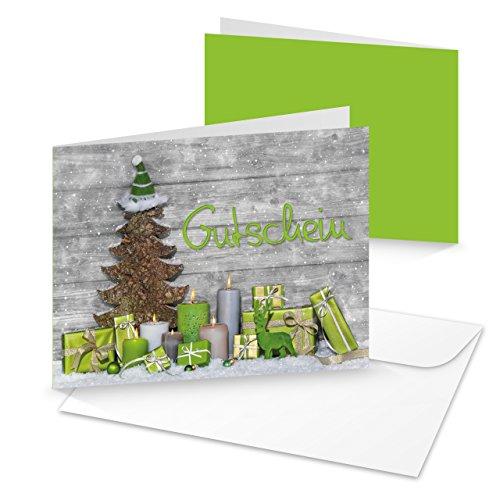 3 Stück Kunden-Gutschein hell-grün grau Weihnachten Text GUTSCHEIN 14,8 x 10,5 cm gold Geschenkgutschein Einkaufsgutschein weihnachtlich Baum Geschenke