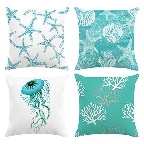 Bonhause Juego de 4 Funda de Cojín 45x45cm Océano Estrella de mar Medusa Coral Terciopelo Suave Fundas de Almohada para Cojines Decorativos para Exterior Sofá Cama Coche Hogar