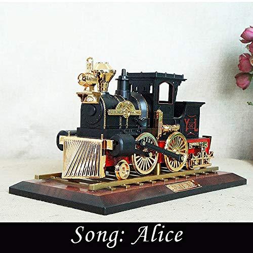 GuoYo Art créatif Artisanat de boîte à Musique Locomotive fumé, Maison modèle rétro de Simple, Cadeau de Vacances d'anniversaire Amis, Souvenir de Fille et garçon