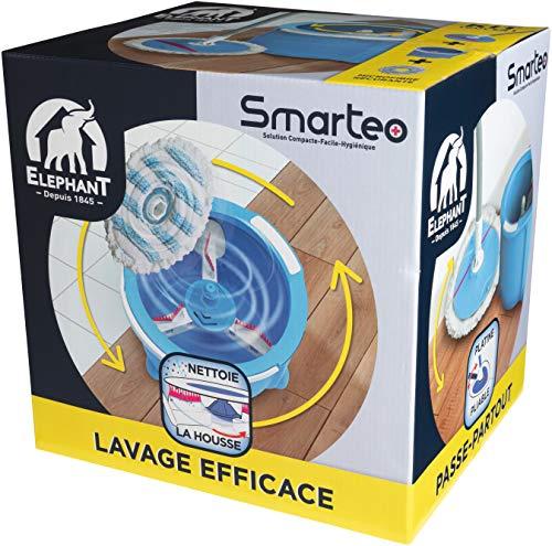 ELEPHANT Kit de lavage Smarteo+ — Platine pliable- Diamètre 25 cm — 124 g, Bleu et Blanc, 31 cm 26, 5 cm 30 cm